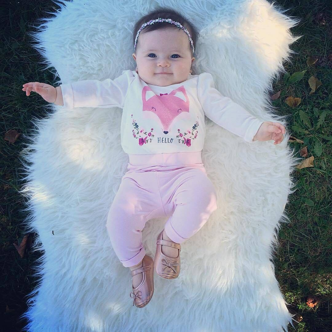 2017 Newborn Baby Girls Clothes Long Sleeve Tiny Cottons fox white Bodysuit Romper+pink Long Pant 2PCs  Infant Clothing Set puseky 2017 infant romper baby boys girls jumpsuit newborn bebe clothing hooded toddler baby clothes cute panda romper costumes