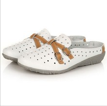 Summer new fashion comfortable flat non-slip shoes breathable with flat bottom Scuffs genuine leather women's sandals