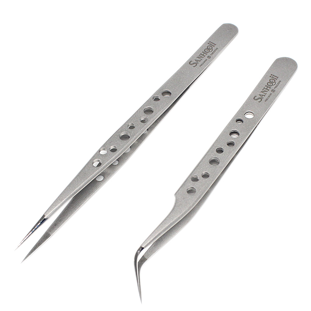 Anti-static Straight Tweezers Hardened Tip Extension Forceps Decorations Picking