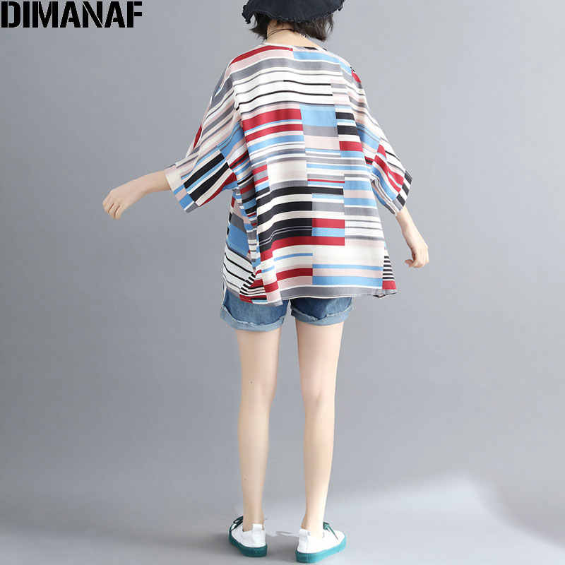 a73510609 ... DIMANAF Women T-Shirt Summer 2018 Plus Size Chiffon Striped Print Basic  Tops Batwing Sleeve ...