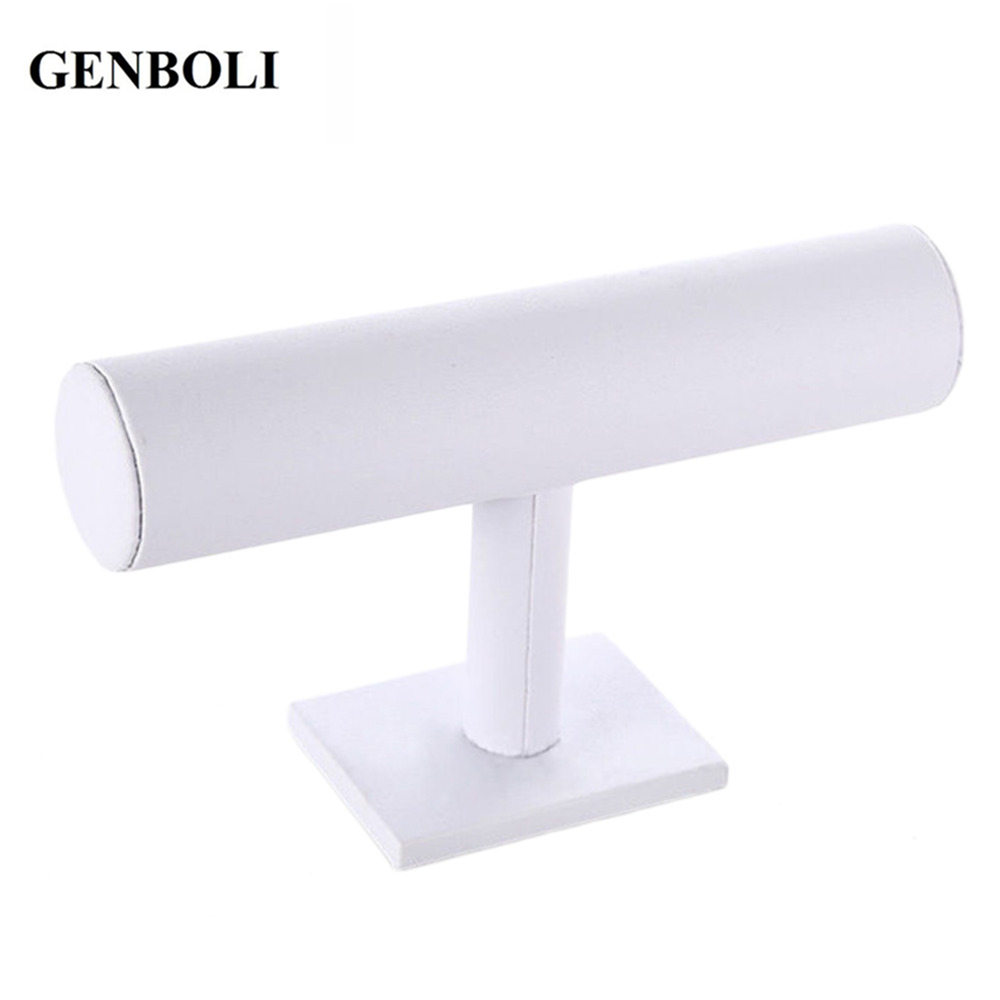 GENBOLI Velvet T-Bar Jewelry Rack Bangle Bracelet Watch Necklace Chain Stand Portable Organizer Jewelry Display Holder White