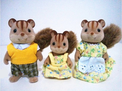 Squirrel family mini size Sylvanian Family Figures Anime Cartoon figures, Toys Child Toys gift 12pcs set children kids toys gift mini figures toys little pet animal cat dog lps action figures
