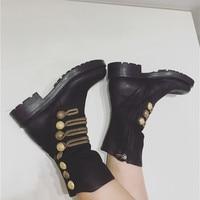 Стильные женские ботинки в стиле ретро, женская обувь с металлической пуговицей, женские ботильоны с золотой вышивкой, Короткие ботиночки с