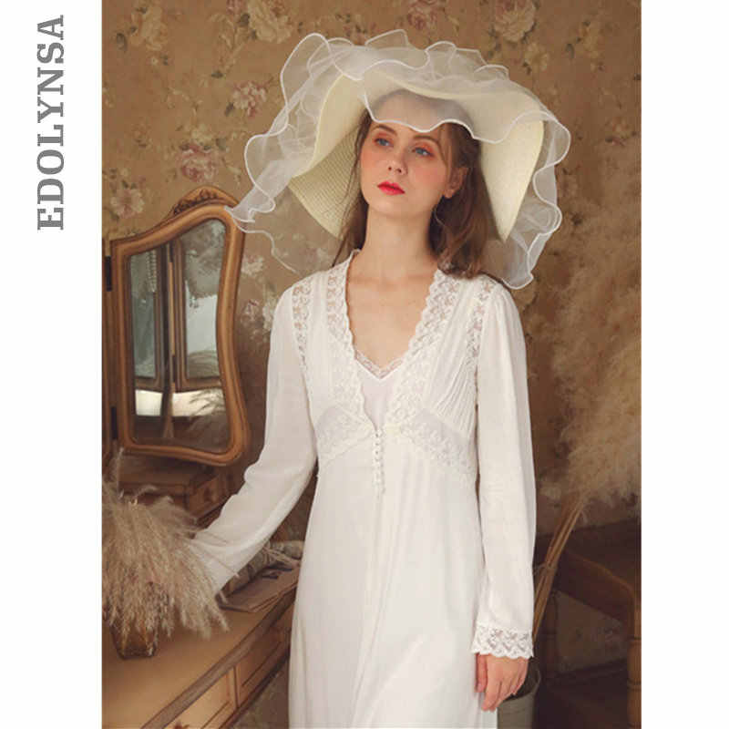 da577292d9 White Cotton Bride Sleepwear Women Night Wear Princess Robe Gown Set  Vintage Peignoir Set Lace Long