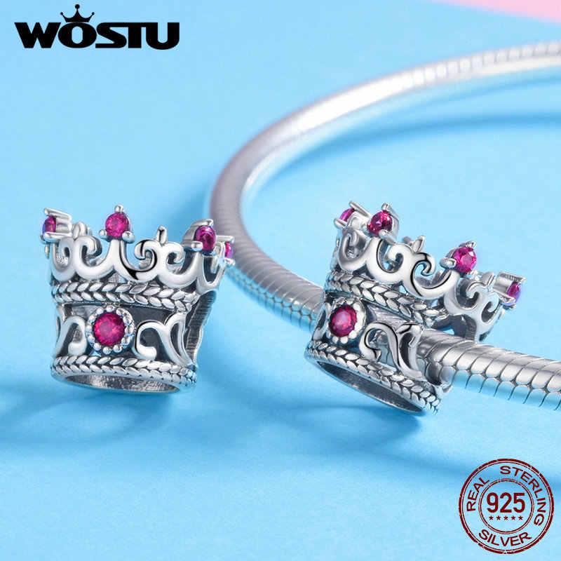 Wostu 100% 925 Sterling Silver Queen Corona Rosa Cz Perline Pendenti E Ciondoli Fit Originale Braccialetto E La Collana Donne Gioelleria Raffinata E Alla Moda CQC776