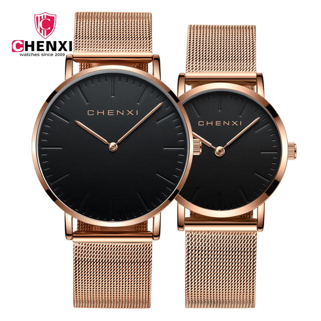 1f1ae9b19734 Fashion Minimalism Women Men Lover s Watches Waterproof Rose Gold Pair  Couple Wristwatch Simple Casual Dress Watch Gift Clock