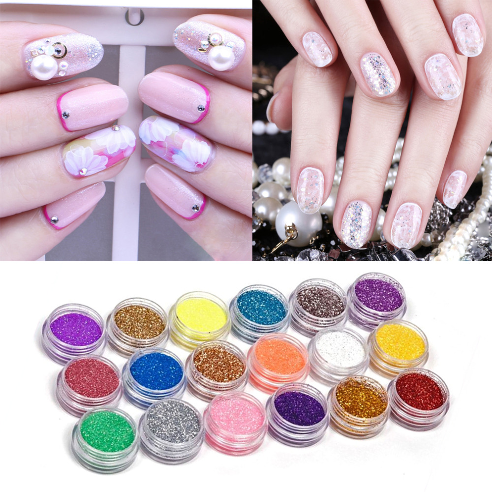 18colors set nail art acrylic glitter nail art tool kit for Acrylic nail decoration