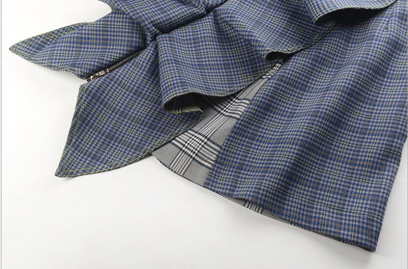 Temperamento Top Ruffled Y Europeo Falda Lap Moda Ajustado Plaid Zipper 2018 Casual Otoño Americano Nuevo qASnqwEP