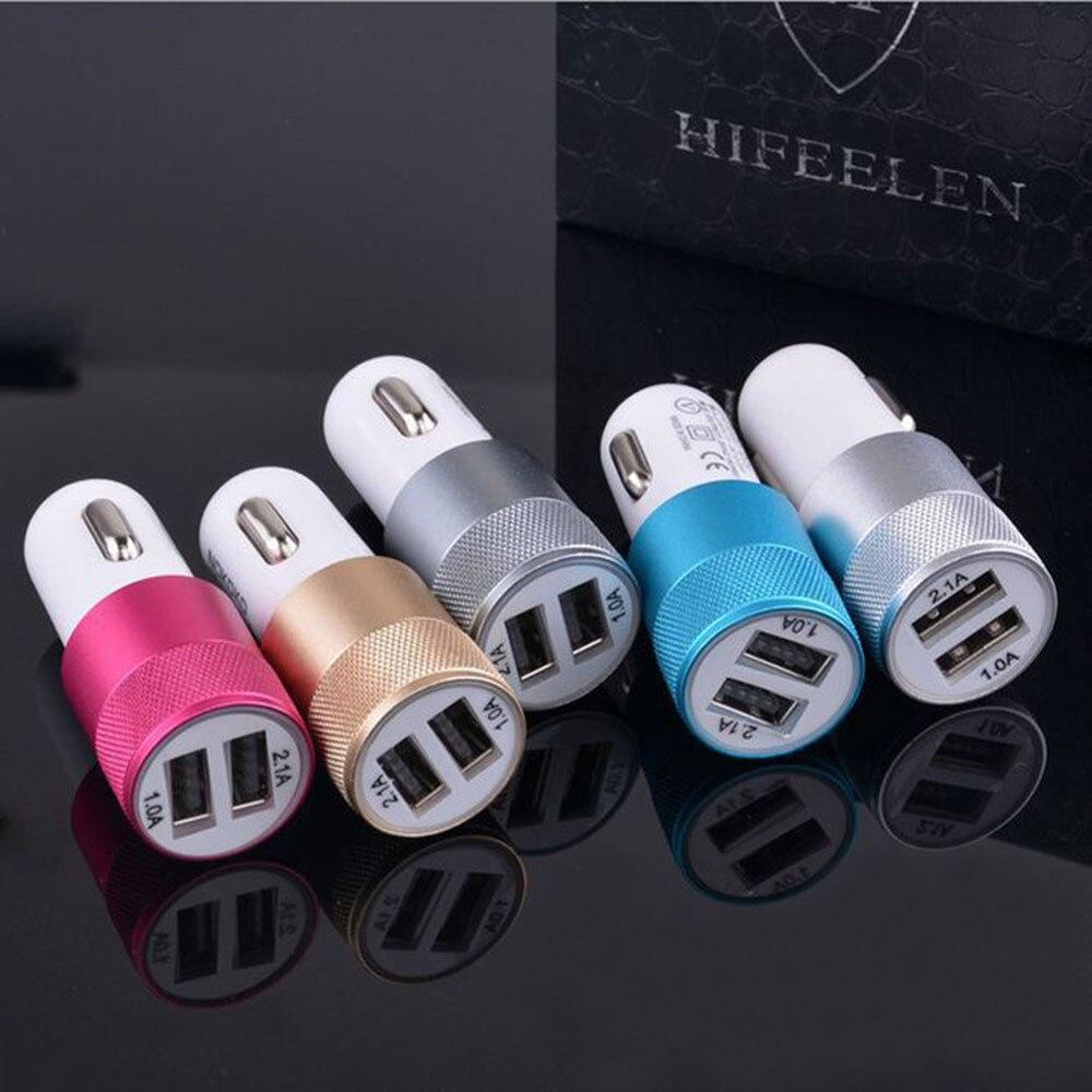10 шт. для Samsung J3 J5 J7 Pad Видеорегистраторы для автомобилей Hotsale 12 В 1.0A Dual USB Автомобильное Зарядное устройство адаптер с 2 портами USB алюминия моб…