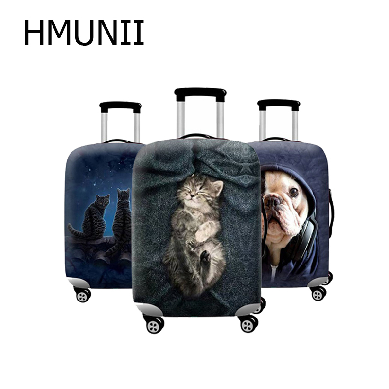HMUNII New Cute Pattern Thicker Travel Suitcase Protective Cover Luggage Case Travel Accessories Elastic Luggage Dust Cover