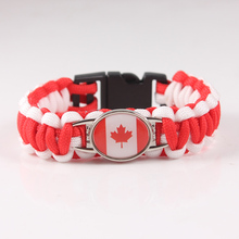Custom Paracord Bracelet Canada Flag Charm Bracelet Survival Bracelet for 2018 World Cup Canada Team Fans Jewelry(China)