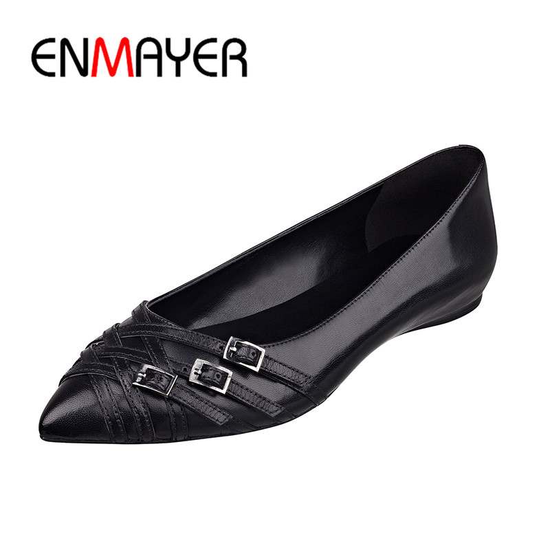 ENMAYER Buckle Strap Shoes Woman Flats Poined Toe Plus Size 35-46 Classic Black Casual Office&Career Slip-on Flats Women enmayer pointed toe summer shallow flats slip on luxury brand shoes women plus size 35 46 beige black flats shoe womens