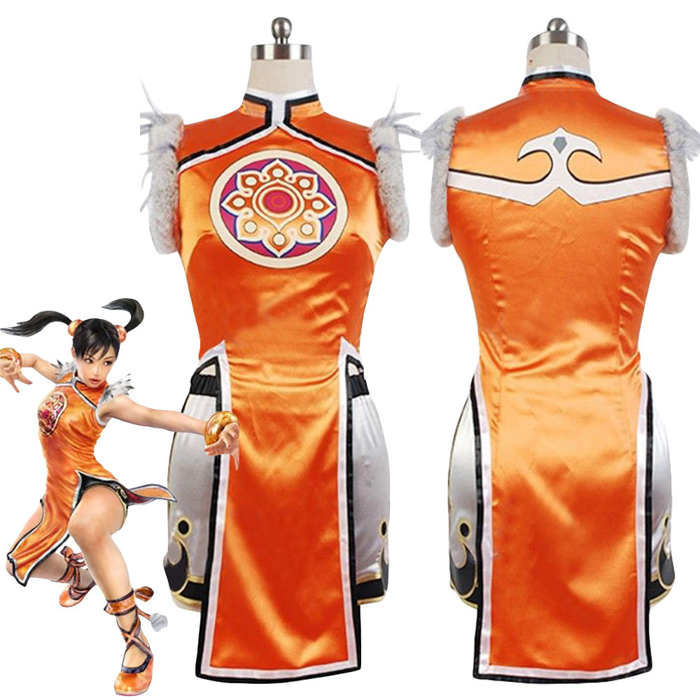 Ling Xiaoyu Cosplay Costume Women Kung-fu Halloween Party Carnival Costume Dress