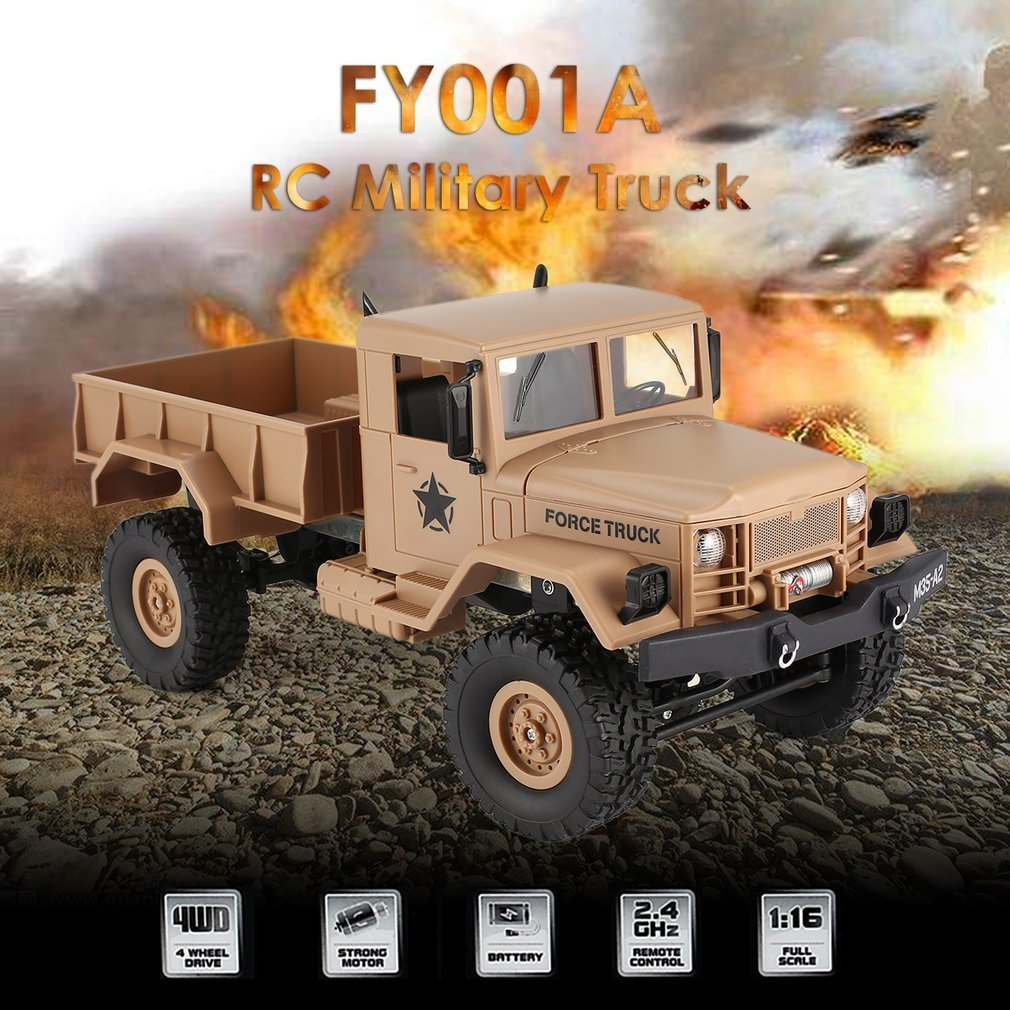 FY001A 2.4Ghz 1/16 4WD Off-road RC Military Truck Climber Crawler RC Car Remote Control with Front Light for Kids Toy Gift remote control 1 32 detachable rc trailer truck toy with light and sounds car