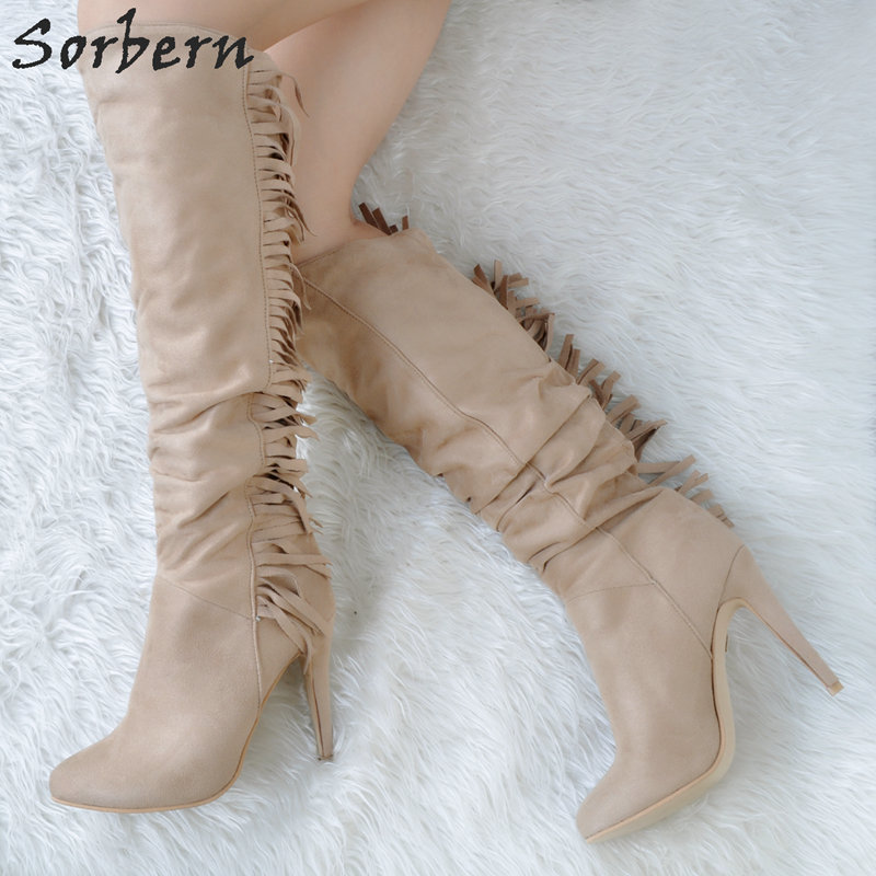Sorbern Women Boots 2018 Fringe Pointed Toe New Arrive Western Style Boots Womens Fringe Boots Gothic Punk High Heels CustomSorbern Women Boots 2018 Fringe Pointed Toe New Arrive Western Style Boots Womens Fringe Boots Gothic Punk High Heels Custom
