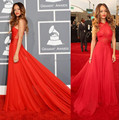 2016 Hot 55th Grammy Rihanna Red Carpet Dress Sheer Criss Cross Red Chiffon Celebrity dress long with beaded court train