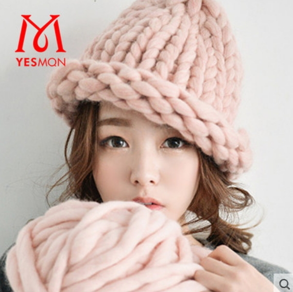 Autumn and Winter Fashion Womens Thick Yarn Handmade Knitted Hat Roll-up  Hem Thermal Skullies   Beanies 46f2780c4e2