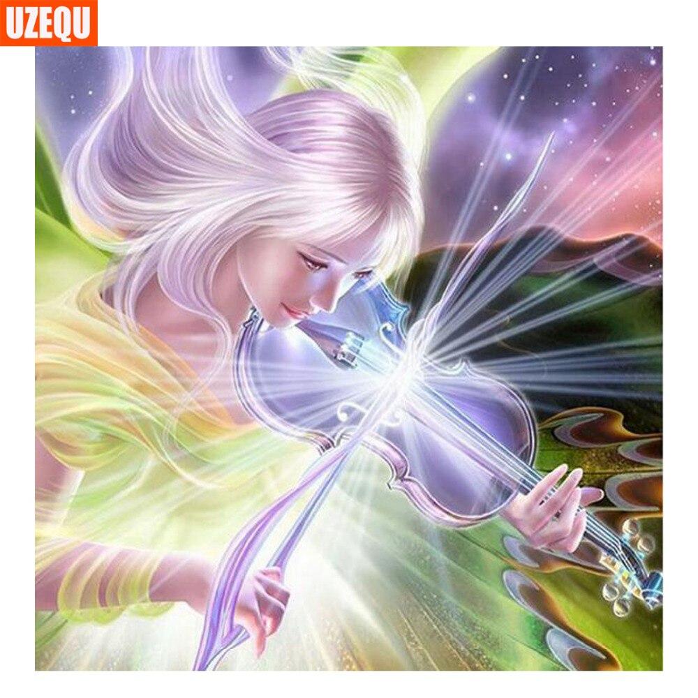 Uzequ полный алмазов вышивка фея 5d diy алмазный крест живопись стежка скрипка красоты алмаз мозаика живопись стразы декор