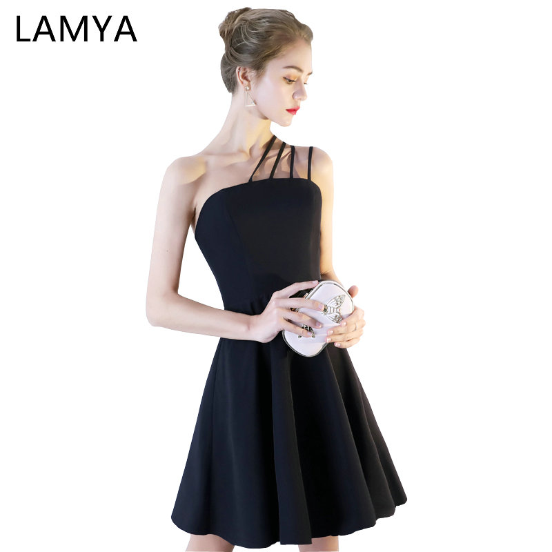 LAMYA Simple Black Satin   Prom     Dress   Short A Line Evening Party   Dresses   Sexy Satin Spahetti Strap Formal Gown vestido de noiva