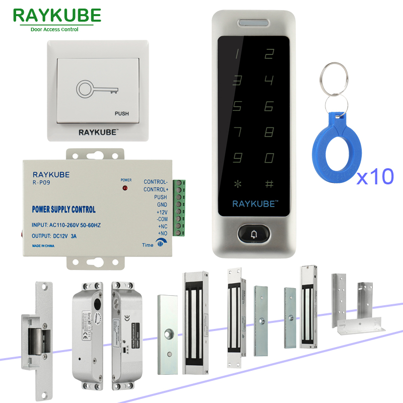 RAYKUBE DIY Access Control System Set With Touch Keypad + Electronic Door Locks + Exit Button + Power Supply + RFID Keys high tech door locks apartment combination lock touch keypad for door access