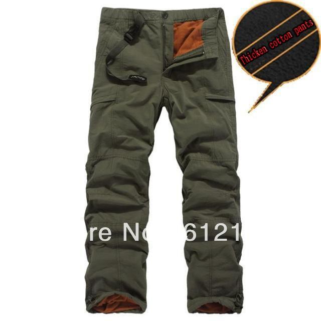 зима двойной слой мужская брюки-карго теплые спорт на открытом воздухе штаны  мешковатые штаны хлопчатобумажные b87f250f59856