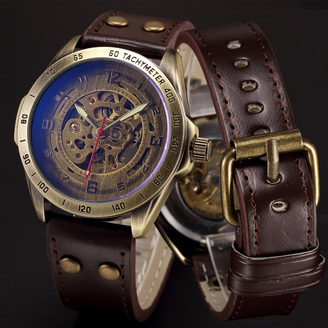 Venda quente antigo esqueleto mecânico automático assista men bronze steampunk retro couro relógios de pulso analógico horloges mannen