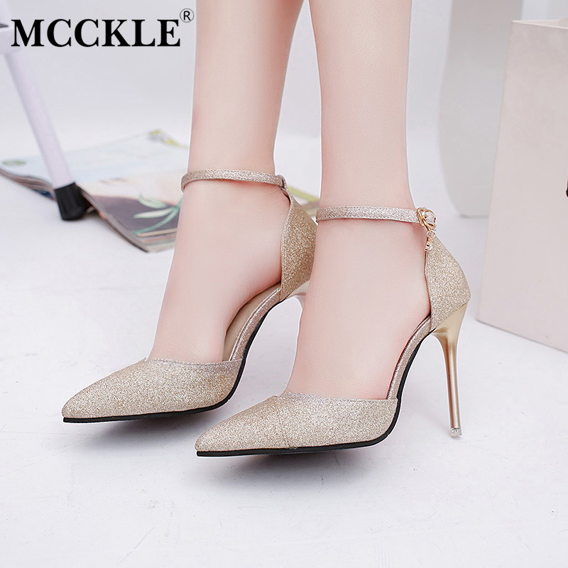 MCCKLE Women's Fashion High Heels Sandals Pointed Toe Glitter Black Female Sandals Buckle Female Pumps Wedding Party Woman Shoes enmayer extreme high heels flock round toe buckle platform black shoes sandals hot fashion summer women pumps for party wedding