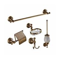 Antique Brass Bathroom Accessories Set Paper Holder Towel Bar Soap Dish Holder Bathroom Kitchen Hooks 5pc