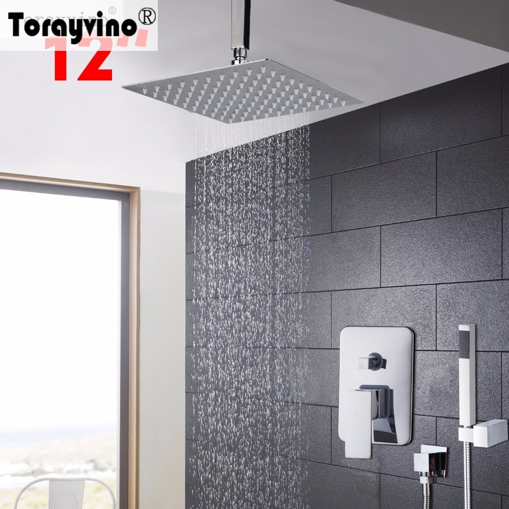 Torayvino Shower Faucet 12 inch Bathroom Faucet Chrome Rainfall Shower Heads Hot Cold Water Mixer Good Faucet
