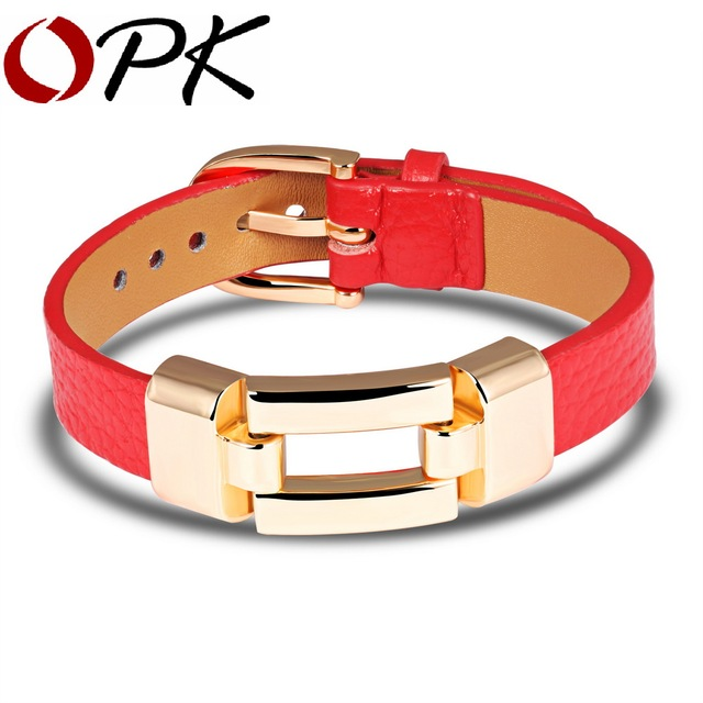 OPK Leather Charm Bracelets For Woman Man Personality BlackRed