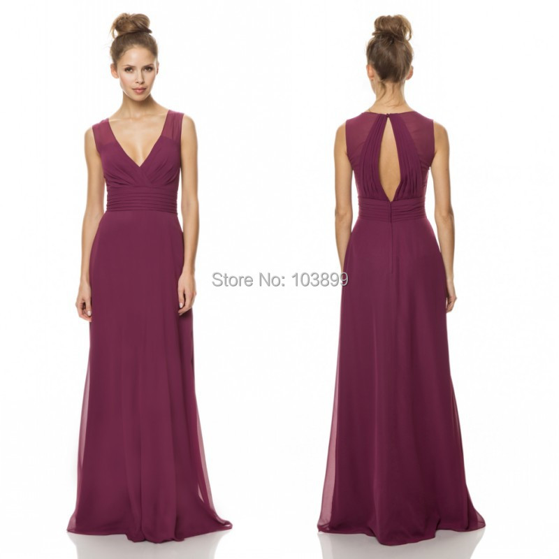 Discount Opulent V Neck Sleeveless Plum Chiffon Long ...