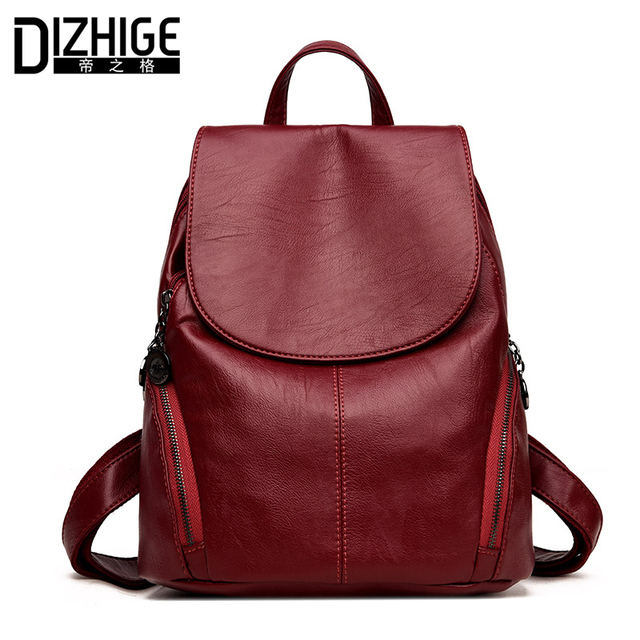 DIZHIGE Brand Soft High Quality PU Leather Backpack Women Luxury School Bags  For Teenagers Girls Women Backpack Designer 2018 3a79f16a00977