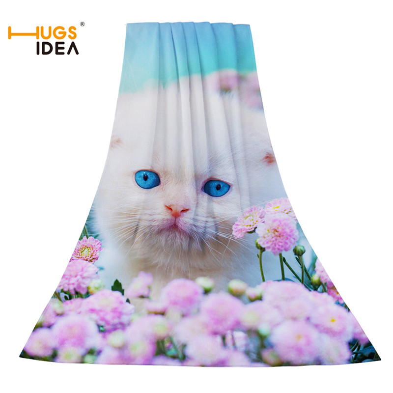 HUGSIDEA lindo verano Toallas de playa 3D gato patrón Animal Microfibra  textil hogar Baño cara gruesa Toalla viajes Spa Toalla de secado ba9ccc15909d