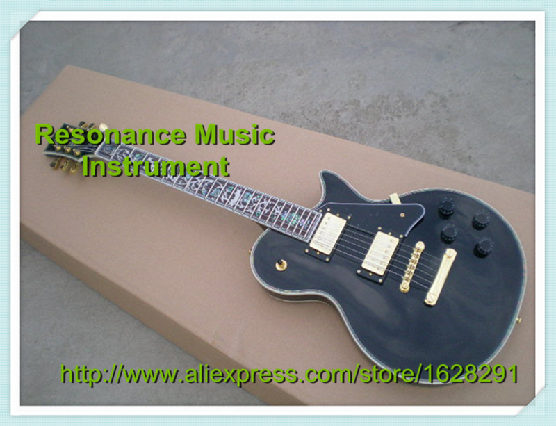New Arrival Custom Black Electric Guitar LP Flower Inlay Left Handed Available new arrival 1960s corvette lp electric guitar in black china lp guitars lefty available