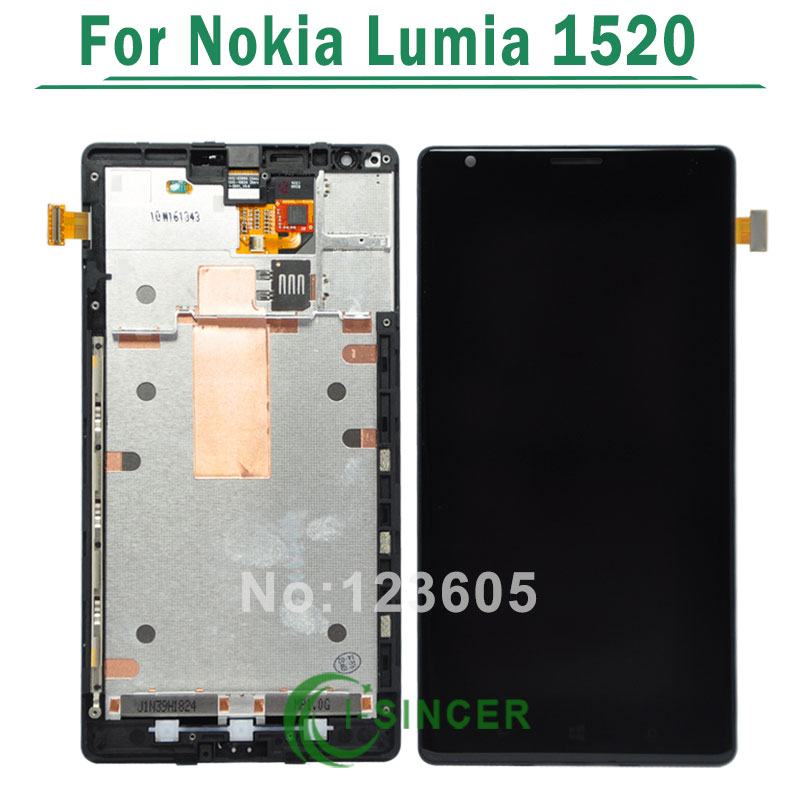 1PCS For Nokia Lumia 1520 LCD Display with Touch Screen Digitizer Assembly With Frame+Tools Free Shipping black lcd display touch screen digitizer assembly with bezel frame for nokia lumia 1520 replacements part free shipping