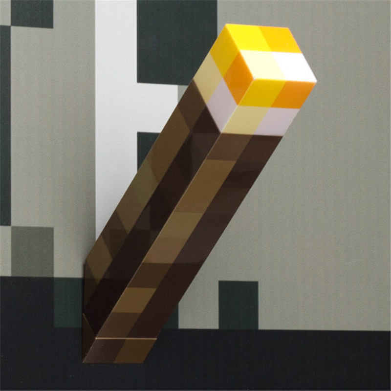 Light Up Minecrafte Action Figure Torch 28CM LED Hand Held Wall Mount Popular Minecrafte Model Toys
