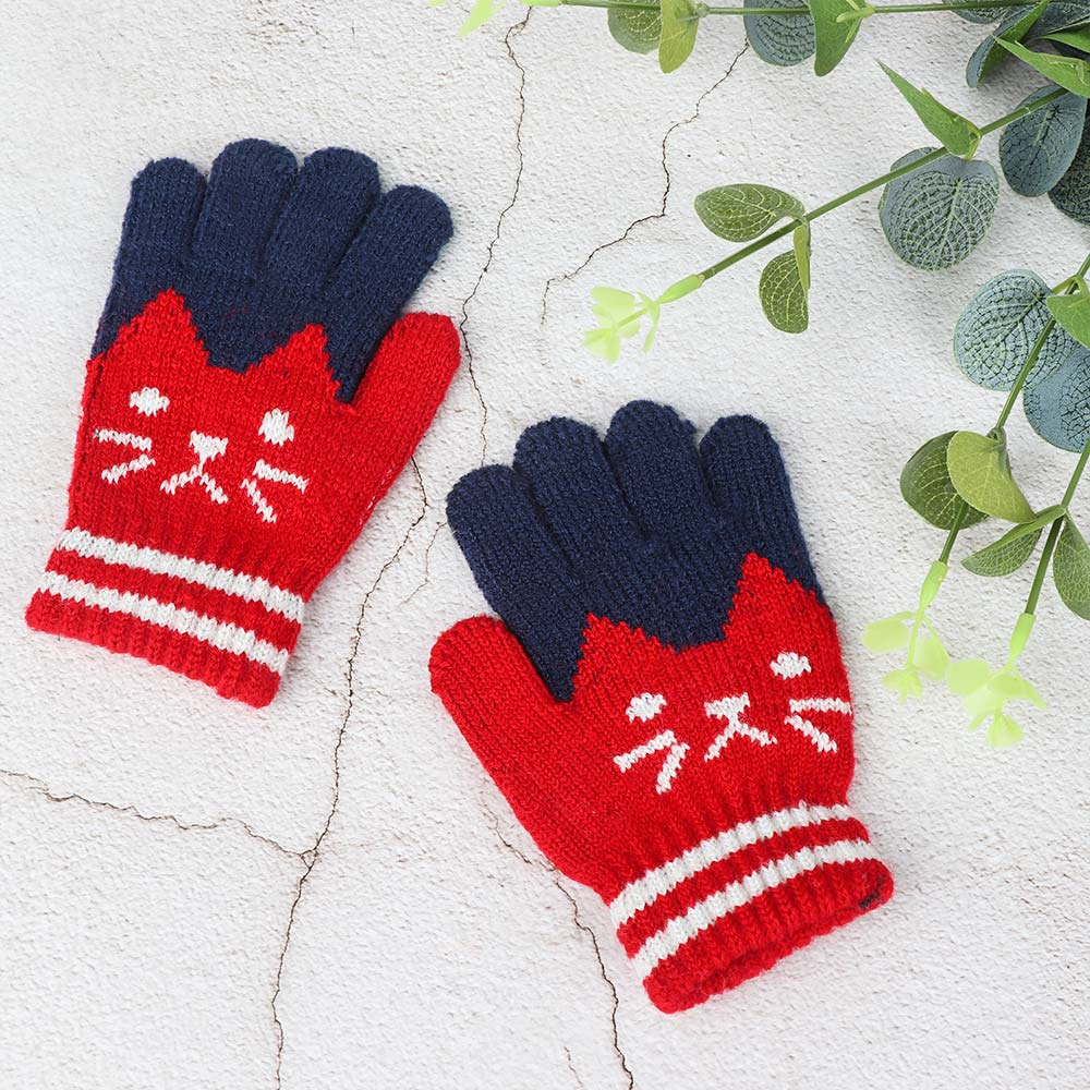 1 Pair Hot Kid Solid Full Finger Gloves Winter Warm Baby Knitted Stretch Mittens