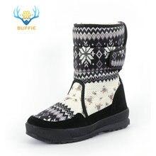 De las mujeres botas de invierno zapatos de snowboot de goma antideslizante suela de copo de nieve lindo grande de talla grande envío gratis negro