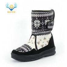 Womens boots winter warm shoes snowboot non slip Rubber outsole snowflake nice looking big plus size free shipping black flower