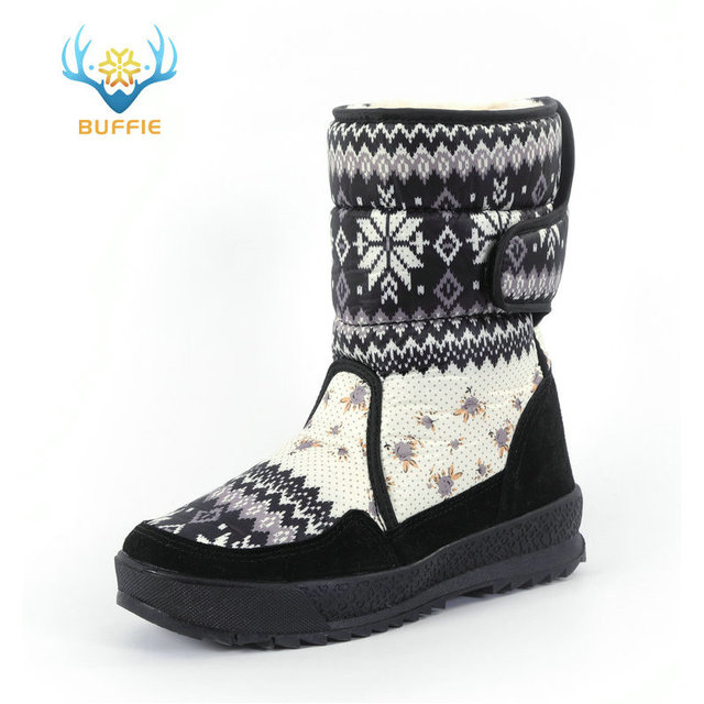 Women's boots winter warm shoes snowboot non-slip Rubber outsole snowflake nice looking big plus size free shipping black flower