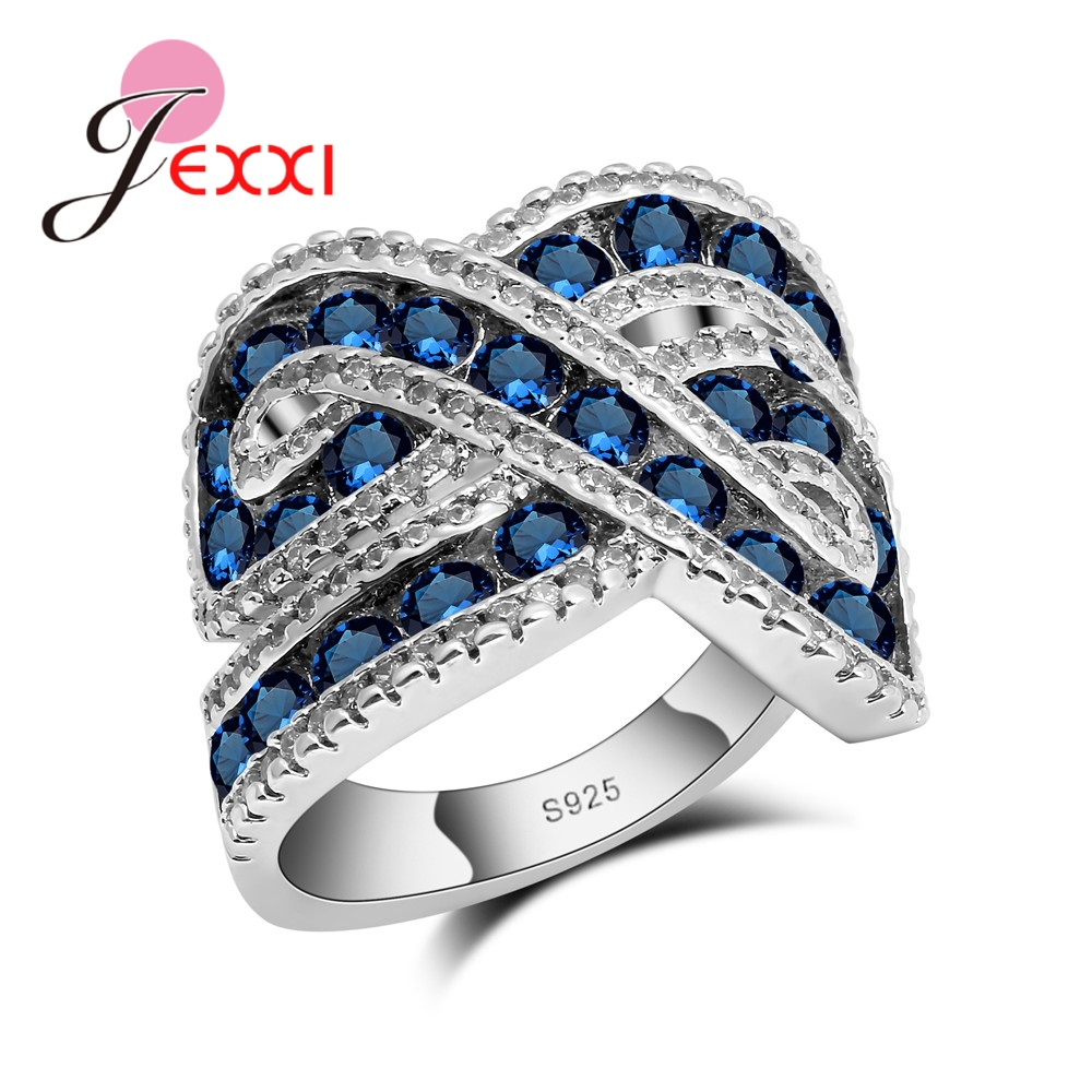JEXXI Fine Quality White/Blue CZ Crystal Brand New 925 Sterling Silver Wedding Engagement Rings Women/Girls Bridal Cross Ring