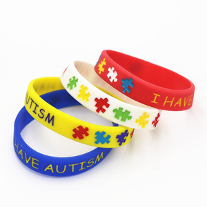 1PC I have Autism Puzzle Silicone Bracelets&Bangles Daily Reminder Colourful Wristbands in Kids Size Multicolor Gifts SH086(China)
