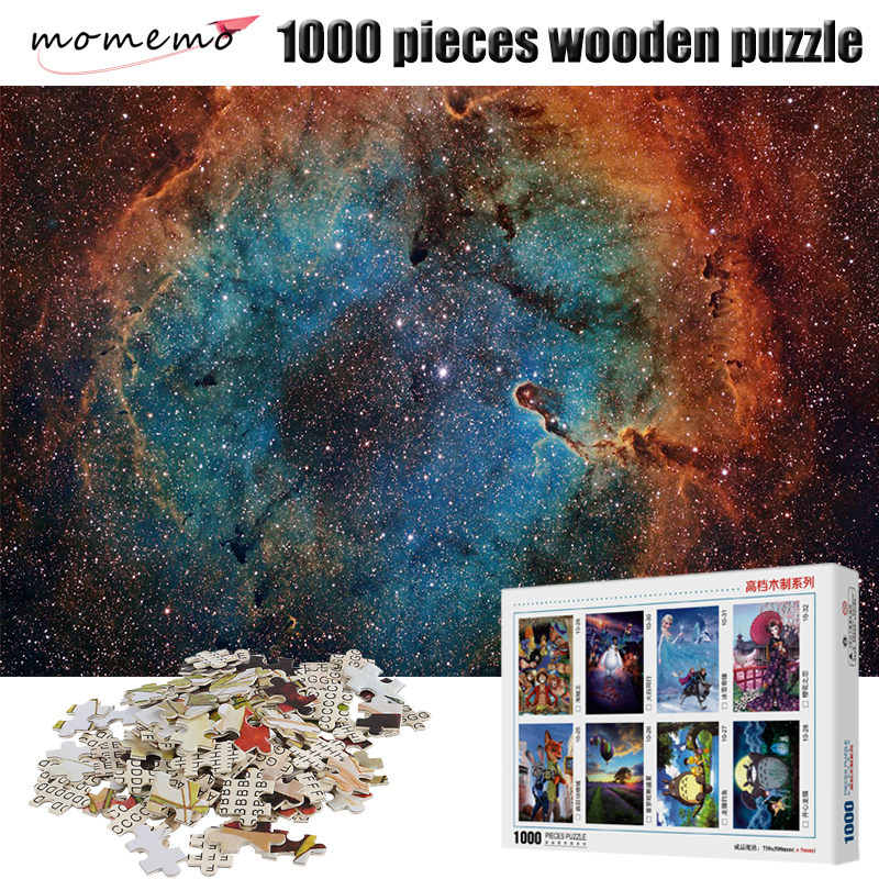 MOMEMO Wooden Puzzle Colorful Starry Sky Puzzles 1000 Pieces For Adult Assembling Jigsaw Puzzle Toys For Children