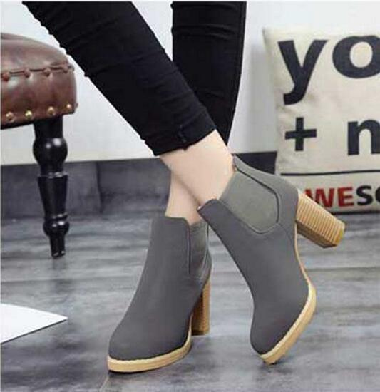 Hot Sale Solid Color Women Elastic Slip On Boots for Spring Winter Fashion Wooden Square High Heel Ankle Boots Round Toe Shoes hot sale autumn winter shoes round toe fashion ankle women boots sheepskin all match square high heel