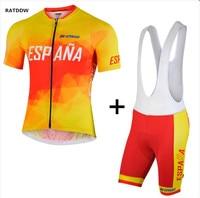 RATDDW Merk Mannen Spanje Nationale Wielertrui Korte mouw Fiets wielertrui ropa ciclismo Maillot Ciclismo Sportwear