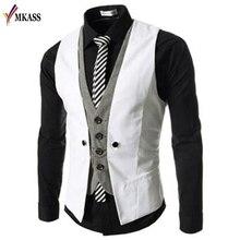 Осенний мужской жилет, костюм, жилеты, британский стиль, повседневный Блейзер, имитация двух жилетов, двубортный Мужской приталенный костюм, жилет