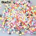 BlueZoo 1000 pcs 3D Mix Design Heart Star Ribbon Cute Series Nail Art Fimo Slicing Nail Stickers Decoration