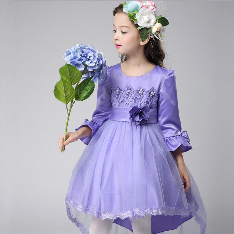 ФОТО Girls Princess Dress With Long Sleeve Flower Girl Dresses For Party And Wedding Christmas Costume Pink Dress Age 3-14Y Rapunzel
