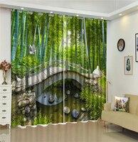 Personalizado 3d cortina voando pássaros de bambu verde 3d paisagem cortinas sala estar quarto bonito prático cortinas blackout