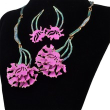 Statement Necklaces Choker Flower Necklace  Earring Set Wedding Jewelry for women